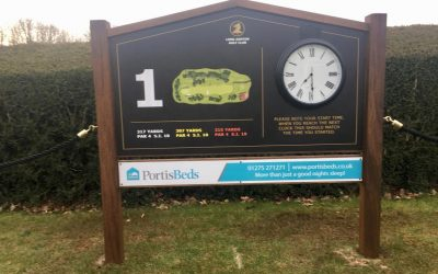 Arched top granite effect golf sign